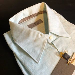 Canali Men's Modern Fit Casual Shirt Aqua Melange